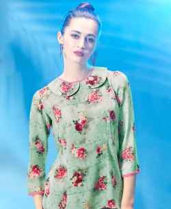 Green Polyester Digital Printed Tunic Tops
