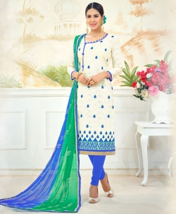 Off White Poly Cotton Embroidered, Jacquard, Lace Border Chudidhar Suits