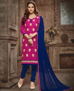 Pink Cotton Embroidered, Lace Border Chudidhar Suits