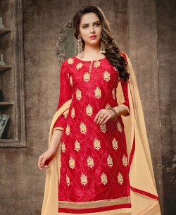 Red Cotton Embroidered, Lace Border Chudidhar Suits