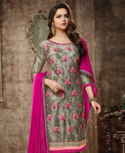 Grey Cotton Embroidered, Lace Border Chudidhar Suits