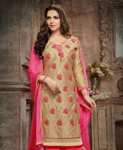 Beige Cotton Embroidered, Lace Border Chudidhar Suits