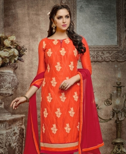 Orange Cotton Embroidered, Lace Border Chudidhar Suits