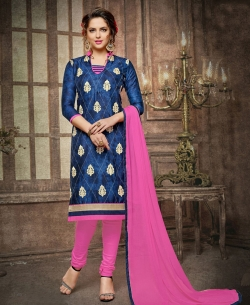 Blue Cotton Embroidered, Lace Border Chudidhar Suits