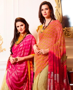 Multi Georgette Printed Half And Half Sarees