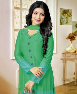 Green And Blue Georgette Embroidered Straight Suits