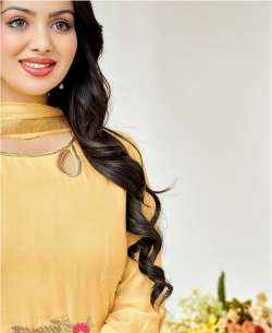 Yellow Cotton Floral Embroidered Anarkali Suits