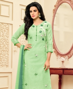 Green Poly Silk Embroidered Straight Suits