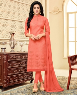 Peach Poly Silk Embroidered Straight Suits