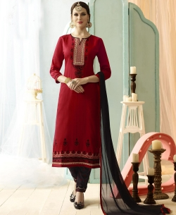Red Cotton Floral Embroidered Straight Pant Suits