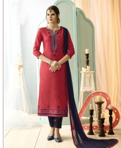 Pink Cotton Floral Embroidered Straight Pant Suits