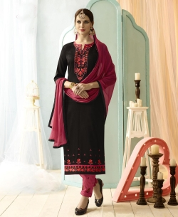 Black Cotton Floral Embroidered Straight Pant Suits