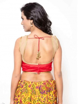 Red Dupion Silk, Net Stone With Beads Work, Lace Blouses