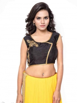 Black Bhagalpuri Silk Zari Work, Golden Lace, Stone Work Blouses