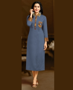 Blue Rayon Solid A Line Kurtis