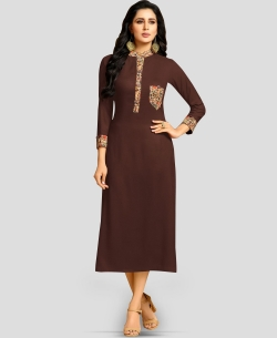 Brown Rayon Solid A Line Kurtis