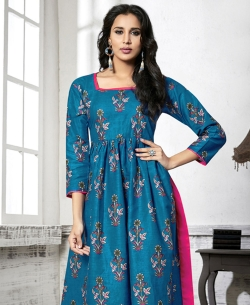 Blue Cotton Printed Anarkali Kurtis