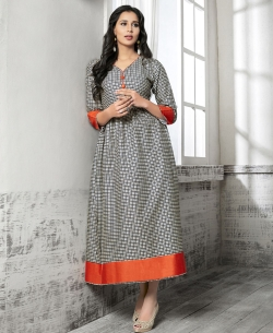 Grey And Black Cotton Printed Anarkali Kurtis