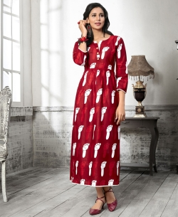 Maroon Cotton Printed Anarkali Kurtis