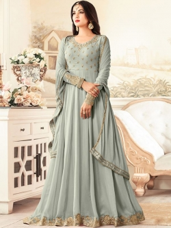 Grey Georgette Embroidered Anarkali Suits