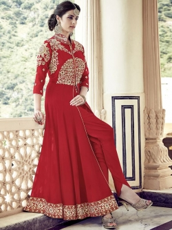 Red Georgette Zari Embroidered, Stone Work Anarkali Suits