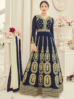 Blue Georgette Embroidered Anarkali Suits