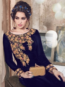 Blue Folco Velvet Floral Embroidered Straight Suits