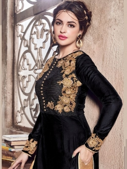 Black Folco Velvet Floral Embroidered Straight Suits