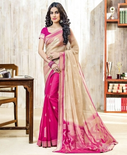 Beige And Pink Chiffon Braso Printed, Lace Border Half And Half Sarees