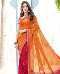 Orange And Red Chiffon Braso Printed, Lace Border Half And Half Sarees