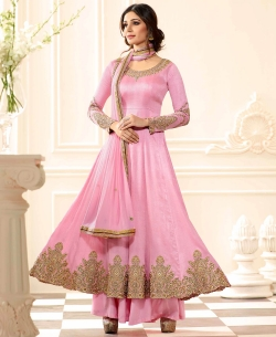 Pink Art Silk Zari And Thread Embroidery, Stone Work, Lace Border Anarkali Suits