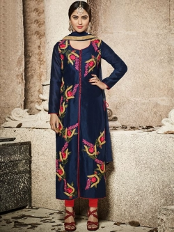 Blue Glass Cotton Heavy Embroidered Straight Suits