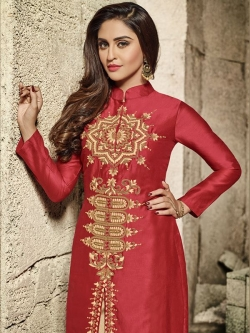 Red Glass Cotton Heavy Embroidered Straight Suits