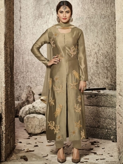 Brown Glass Cotton Heavy Embroidered Straight Suits