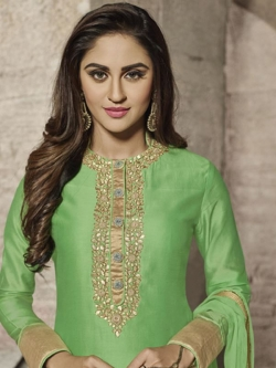 Green Glass Cotton Heavy Embroidered, Zari Border Straight Suits