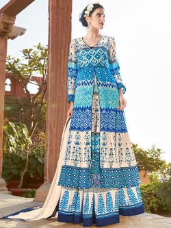 Cream And Blue Satin Printed Anarkali Suits