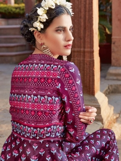 Maroon Satin Printed Anarkali Suits
