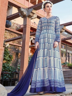 Off White And Blue Satin Printed Anarkali Suits