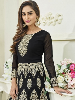 Black Faux Georgette Embroidered Anarkali Suits