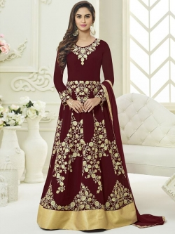 Maroon Faux Georgette Embroidered Anarkali Suits
