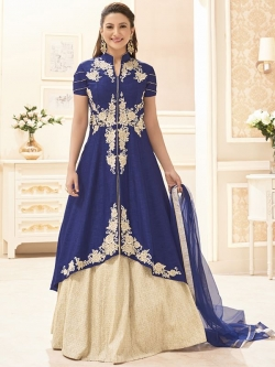 Blue Heavy Banglori Silk Floral Embroidered, Stone Work Long Choli Lehengas