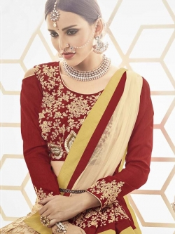 Maroon Slub Silk Embroidered, Stone Work A Line Lehengas