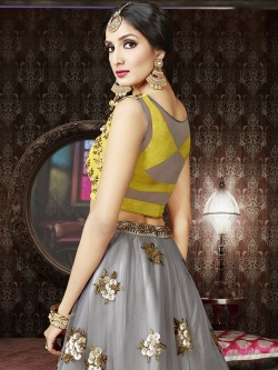 Yellow Satin Embroidered A Line Lehengas