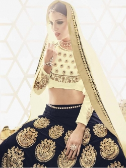 Cream Slub Silk Embroidered, Stone Work A Line Lehengas