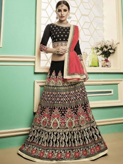 Black Semi Pure Embroidered, Lace Border, Stone Work A Line Lehengas