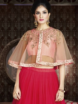 Pink Satin Solid A Line Lehengas