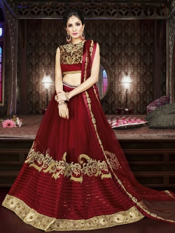 Maroon Banglori Silk Embroidered, Lace Border, Stone Work A Line Lehengas