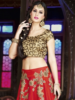 Beige Brocade Embroidered A Line Lehengas