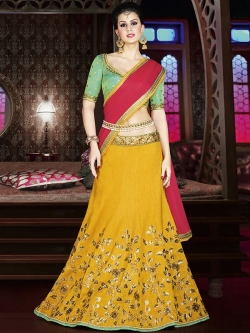 Green Satin Embroidered A Line Lehengas