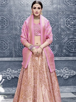 Pink Satin Embroidered A Line Lehengas